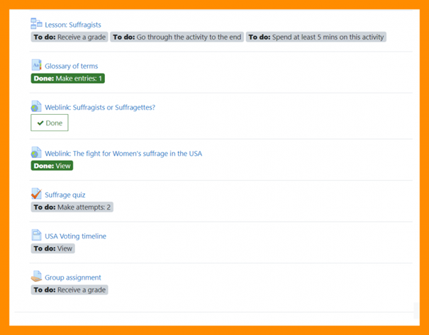 Moodle 3.11 activiteitsvoltooiing